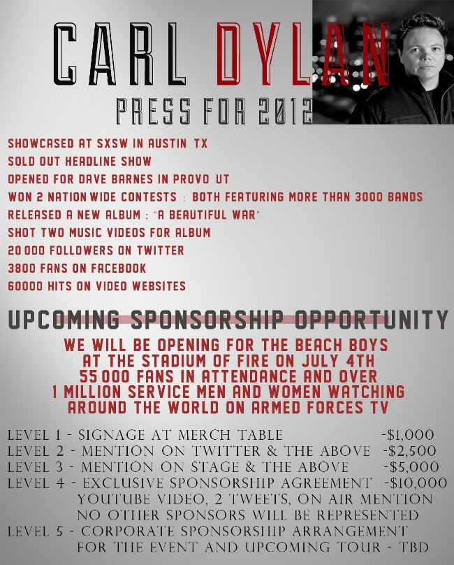 Carl Dylan PRESS-RELEASE-sponsorship opportunity with the Beach Boys